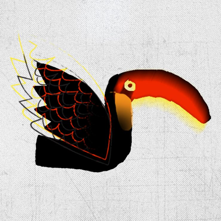 grafika z Tukanem na szarym tle